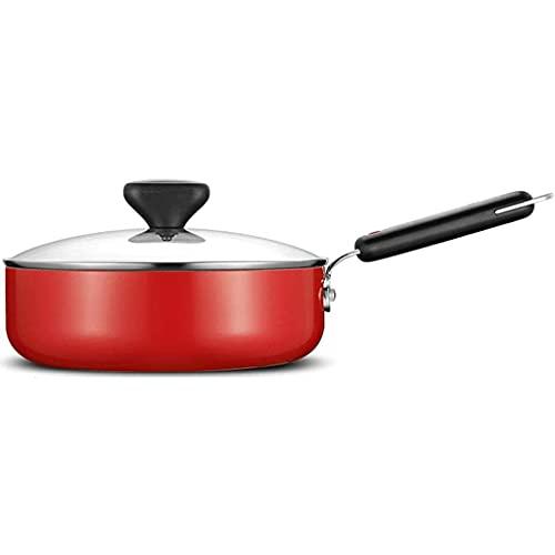 QZH Sartén con Tapa, sartén Antiadherente de Cocina casera, sartén para freír de Doble Uso, Adecuada para 2-4 Personas, Adecuada para Estufa de Gas y Cocina de inducción (Rojo, 268 cm)