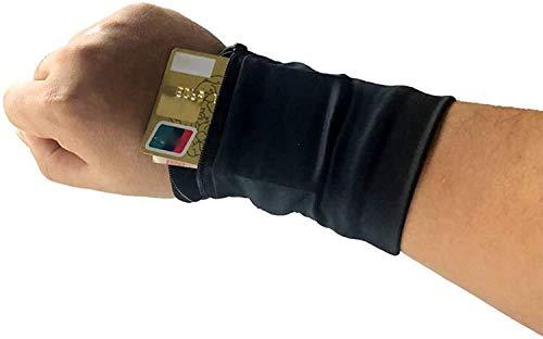 Wrist Wallet, 2 Pocket Wrist Wallets for Women, Wristbands- Sport Wrist Pocket Pouch Running Wallet Bag, Wrist Wallets Zippered Wrist Pouches, iPhone Holder for Walking, Jogging, Travel (Black)