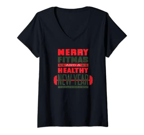 Mujer Feliz Fitness y Año Nuevo Saludable - Fit Christmas Quote Gym Camiseta Cuello V
