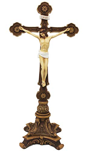 Veronese Ornate Colored 13 Inch Resin Standing Crucifix