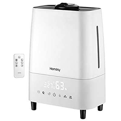Homasy 5.5L Large Humidifier, Warm and Cool Mist Humidifier with Customized Humidity, Remote Control, LED Touch Display, Sleep Mode, 23dB Whisper-Quiet Air Humidifier for Large Bedroom, Office-White