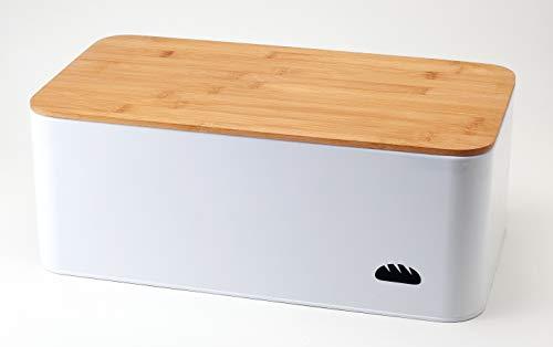 Hanseküche Brotkasten mit Bambus Schneidebrett - Brotbox aus Metall mit viel Platz und Holzdeckel - Brotbehälter, Brotdose (XL) - 42 x 22,5 x 14 cm