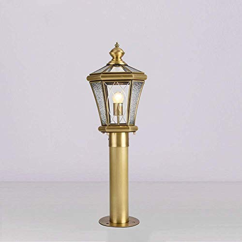 Candelabro,velas candelabro Lámpara de cobre Europea Valla exterior patio del jardín del paisaje linterna Villa puerta de la puerta exterior de la puerta de la lámpara de alto brillo calle cristal de