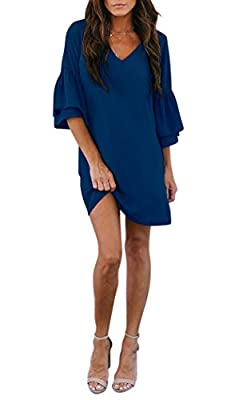 BELONGSCI Women's Casual Sweet & Cute Loose Shirt Balloon Sleeve V-Neck Blouse Top Navy