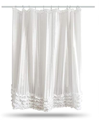 Blezora White and Silver Elegant Ruffle Shower Curtain with Stainless Steel Rollerball Hook Rings