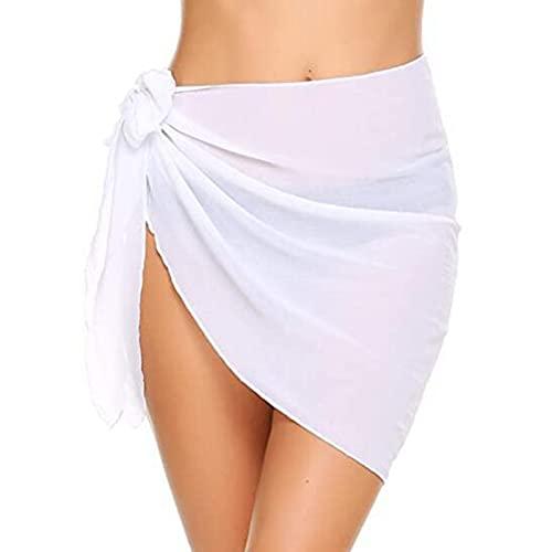 Wendao Traje de baño de mujer con pareos cortos envolventes transparentes de gasa de gasa para cubrir trajes de baño de playa