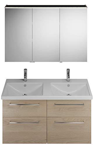 Burgbad Eqio set, SFAQ123L, bestaande uit spiegelkast versie links, keramische dubbele wastafel en badmeubel, breedte: 1230 mm, Kleur (voorzijde/karkas): Eikenhouten decor kasjmier / Eikenhouten decor kasjmier, staafgreep chroom P95 - SFAQ123LF3180P95