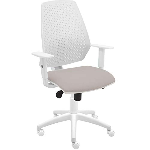 Silla giratoria oficina Hexa color blanco, diseño elegante y moderno, ergonómico, sistema syncro balanceo 4 posiciones y asiento tapizado, con reposabrazos