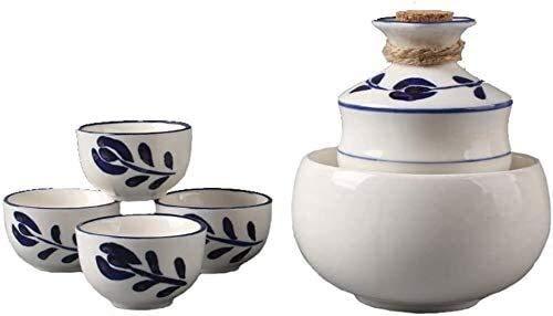 LYYF Oriental Retro - Juego de 6 copas de vino de cerámica con olla calentadora, diseño de festival de bambú azul y blanco, para frío, para Shochu y té, 21223