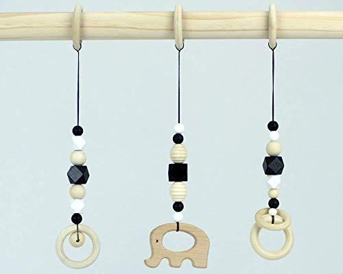Hanging baby gym toys montessori set of 3 pcs black white monochrome contrast colours wooden infant crib pram toy garland baby shower gift