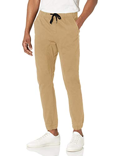 WT02 Men's Jogger Pants in Basic Solid Colors and Stretch Twill Fabric, Light Khaki(NEW), Small
