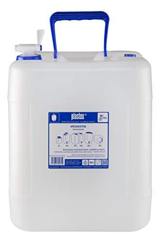 Plastex Depósito de agua de 20 L, apilable, sin BPA, bidón con grifo, tapa de ventilación y mango.