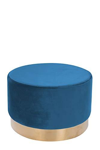 One Couture Velluto Sgabello Grande Pouf Oro Ottone Sgabello Velluto Retrò Blu