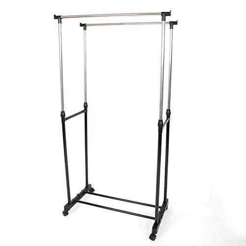Perchero de doble barra con ruedas, de metal resistente, con estante para zapatos para dormitorio, balcón