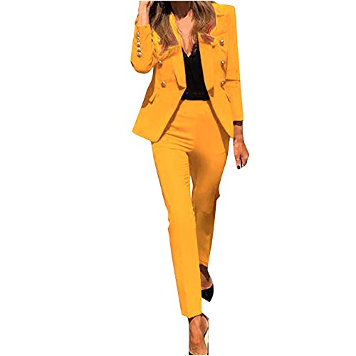 Women's Blazer Suits Two Piece Business Casual Sets Lapel V Neck Suit Coat with Fitted Pants for Work Yellow