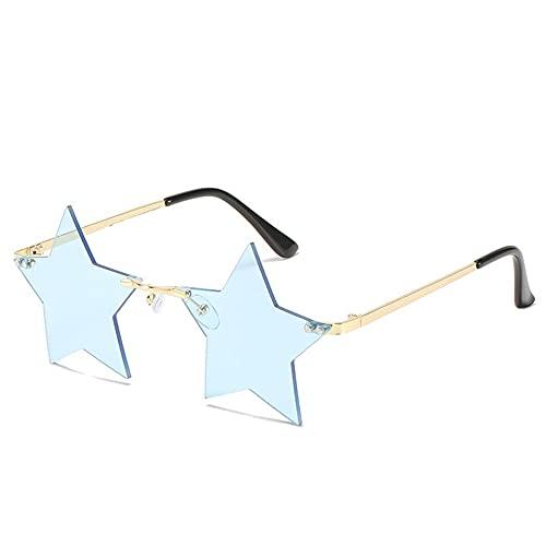 IRCATH Gafas de Sol con Forma de Estrella de Moda Mujeres sin Llantas de Sol de aleación Marco de aleación Lentes de Las Damas Océano Vidrios adecuados para Golf, Ciclismo, Gafas de Sol de Pesca-C6