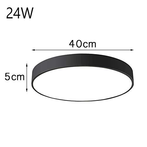 24W ultra dünn Deckenleuchte Deckenlampe warmweiss runde Lampe für küche Dieler Schlafzimmer (Schwarz)