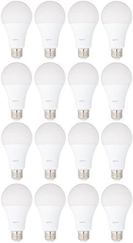 AmazonBasics 100 Watt Equivalent, Soft White, Dimmable, A21 LED Light Bulb   16-Pack