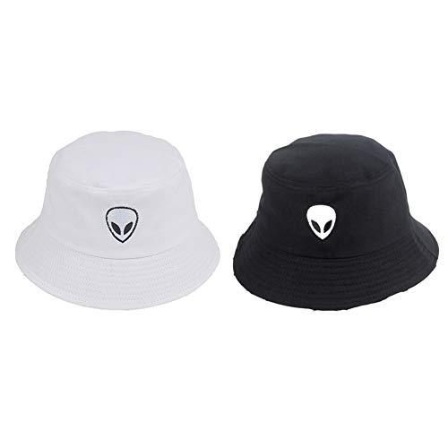 Chutoral Negro Blanco Sólido Alien Bucket Hat Unisex Gorras Hip Hop Hombres Mujeres Verano Panamá Algodón Cap Playa Sol Pescador Pesca Cubo Cap(Black and White)