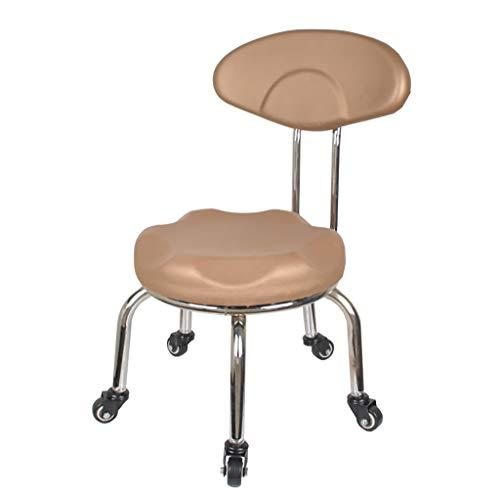 Lwjjby kleine stoel, met rugleuning en katrol -metaal PU lederen lage kruk kinderstoel voor thuis en buiten