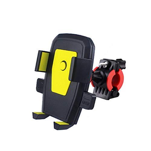 Soporte para teléfono de Bicicleta 360Rotación Gravedad Titular de teléfono Celular móvil Bike Manillar Clip Soporte Soporte de Montaje GPS (Color : Yellow)