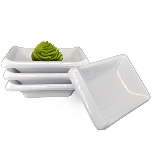 Happy Sales, Melamine Sauce Dipping Bowls, Sauce Dishes, Set of 4 pc Tetragon (White)