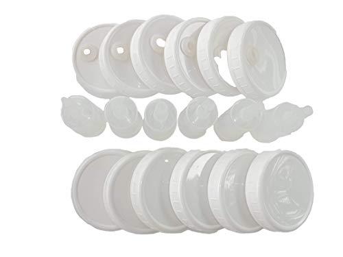 6 Complete Ultimate Pickle Jar Brand Plastic Mason Jar Fermentation Lids. Includes Unbreakable Airlocks, Gaskets, Grommets AND 6 After-Ferment Storage Lids