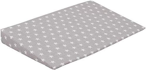 Keilkissen für Kinderbett 59x38 mit Bezug Leichtes Atmen Babykissen BABY Zimmer (Weiße Sterne Grau)