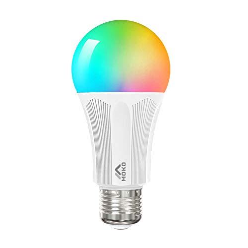 MoKo Bombilla WiFi LED Inteligente con Luz Colorido Cálida Ajustable, E27 9W...