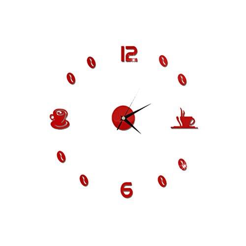 WINOMO Reloj de pared adhesivo silencioso 3D espejo reloj de pared (taza de café roja)