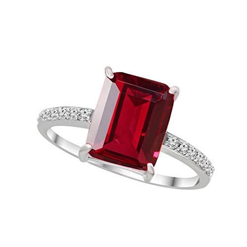 Anillos de diamantes naturales de 1/6 quilates para mujer de oro blanco de 9 quilates GH-I2, anillos de diamante de calidad para mujer, 100% auténticos (joyas de diamante regalos para mujer)