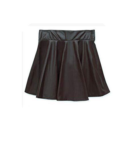 Falda corta plisada de piel sintética, estilo europeo, para mujer, tamaño 4 colores, 4, XS