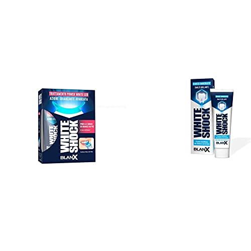 BLANX White Shock Trattamento con LED Bite, Blu, 30 ml + Dentifricio Sbiancante White Shock, 75 ml