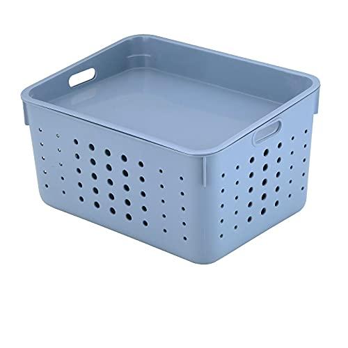 MRBJC Caja de almacenamiento de estilo nórdico, cesta de almacenamiento de ropa de plástico, juguetes, artículos de tocador, organizador con tapa, extra azul, 25 x 18,7 x 13,8 cm