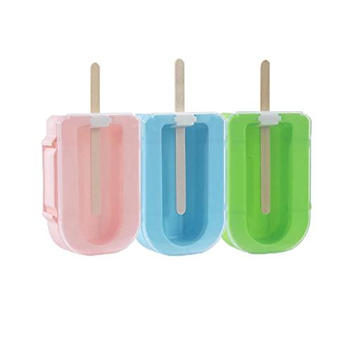 Ijsvormen Ijs Schimmel Kubus Lade Diy Zelfgemaakte Popsicle Vat Mallen Dessert Mold Stick Home Tools-3 Stuks_Roze Groen Blauw