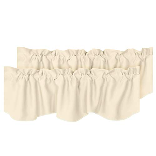 """H.VERSAILTEX 2 Panels Blackout Curtain Valances for Kitchen Windows/Living Room/Bathroom Privacy Protection Rod Pocket Decoration Scalloped Winow Valance Curtains, 52"""" W x 18"""" L, Beige"""