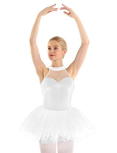 Freebily Tutú Vestido Ballet Mujer con Lentejuelas Maillots de Danza Gimnasia Rítmica Baillet Patinaje Actuación Leotardo Básico Elástico de Terciopelo Talla Grande Blanco X-Large