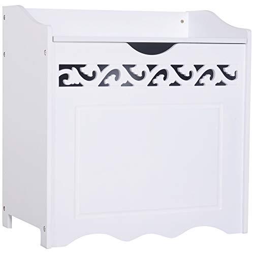 HOMCOM Badschrank Wäschekorb Truhe Kiste Aufbewahrungsbox mit Deckel MDF Weiß 55 x 34 x 58 cm
