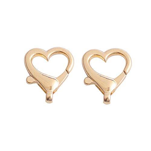 Aober 10 Uds Plata Oro Forma de corazón Broche de Langosta Ganchos Collares Pulsera Cadena Conectores para joyería DIY EncuentraAccesorios