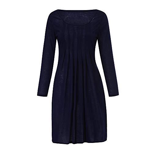 Damen Winterkleid MYMYG Lonngshirt Rundhalskleider Tunikakleid Frauen große Größe Solid Color Rundhals Langarm-Kleid Bodycon Kleid (Marine,EU:48/CN-5XL)
