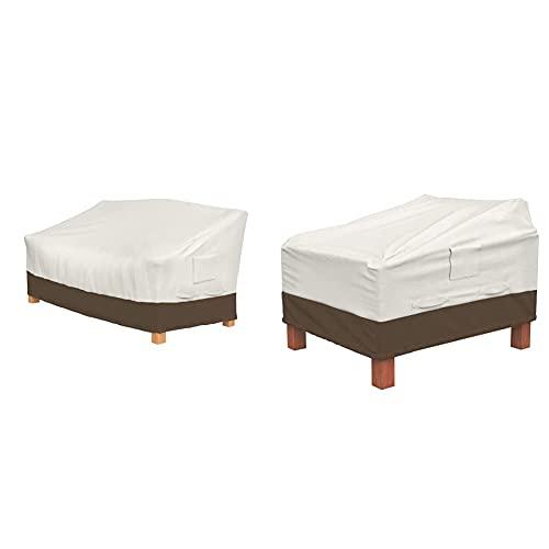 Amazon Basics Lot de 2 Housses pour fauteuils Lounge à Assise Profonde & Housse de Protection pour Banc 3 Places