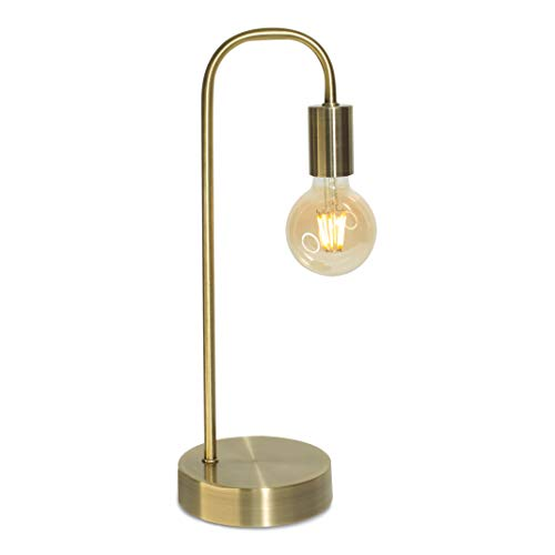 HMCLWT Gold Table Lamp 3 Way Dimmable Industrial Lamp, Matte Brass LED Edison Bedside Lamp, Minimalist for Bedroom Living Room, Nightstand, Amazing Warm Glow, G80 8W LED Filament Bulb Included.