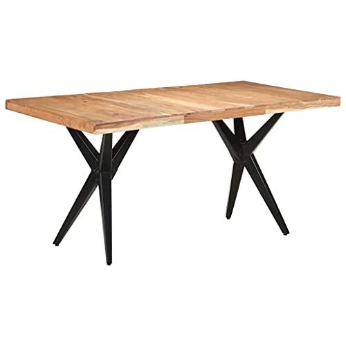 vidaXL Akazienholz Massiv Esstisch Industriestil Küchentisch Esszimmertisch Holztisch Speisetisch Tisch Esszimmer Küche 160x80x76cm Stahl