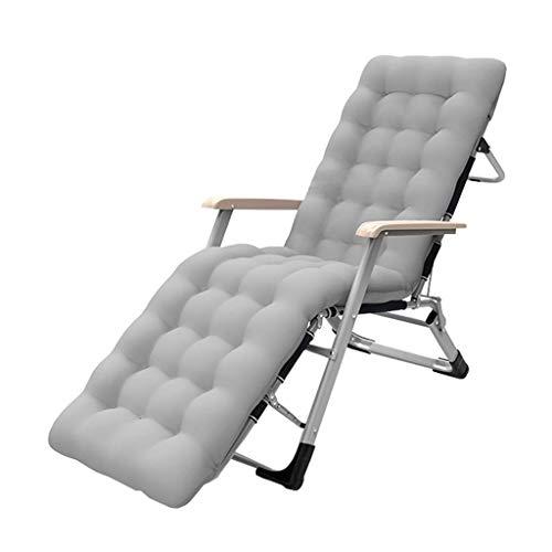 ZBBN Tumbonas Plegables Sillones reclinables para Patio Tumbona Exterior Ajustable con Cojines para Exteriores, Camping, Playa, Patio máx.200 kg - Gris