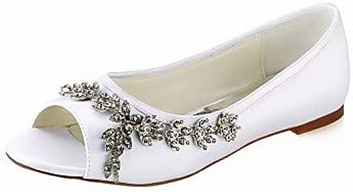 DABAOBEI Chaussures De De Ville Stretch Satin Printemps Eté Chaussures De Mariage Basic Pump Talon Plat à Bout Ouvert Peep Toe Crystal blanc Ivory Soirée  vente en ligne