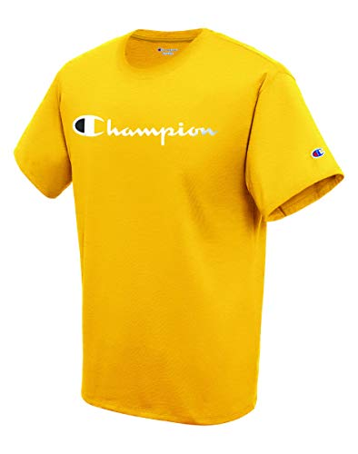 Champion Men's Classic Jersey Script T-Shirt, Team Gold2, Small