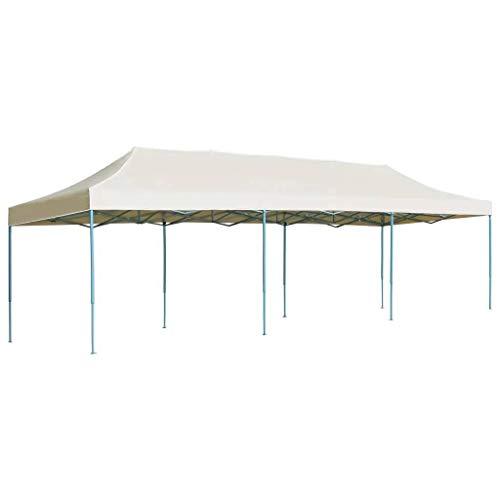 Ausla Gazebo Popup, Tenda Pop-up Pieghevole 3 x9 m Impermeabile Pieghevole Tenda da Giardino, per Esterno, Crema