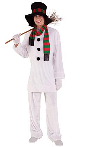 Karneval-Klamotten Schneemann Kostüm Damen Schneefrau mit Hut bunten Schal Komplettkostüm große größen Weihnachten Erwachsene Damenkostüm