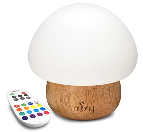 Neeny Luz Nocturna LED – Lámpara de Mesita de Noche de la Seta para Bebés y Niños con 16 Colores Control Táctil USB Silicona Base Madera Brillo y Colores RGB Ajustables