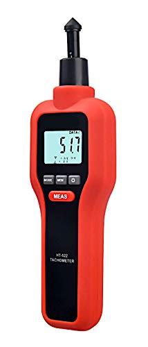 Komerci HT-522 Laser Umdrehungsmesser, Tachometer, Drehzahlmesser, Messung mit Laserstrahl oder Kontaktmessung